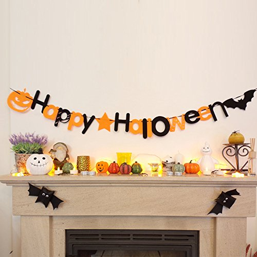 Huhuswwbin Happy Halloween Kürbis Fledermaus zum Aufhängen Girlande Banner Party Dekoration Rep – Happy Halloween