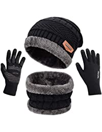 Petrunup Cappello Sciarpa e Guanti Touch Screen Uomo Invernali Berretto in Maglia con Sciarpa Beanie Collo della Ciarpa 3/2 Pezzi per Uomo Donna