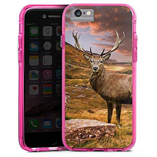 Apple iPhone X Bumper Hülle Bumper Case Glitzer Hülle Hirsch Deer Landschaft Bumper Case transparent pink