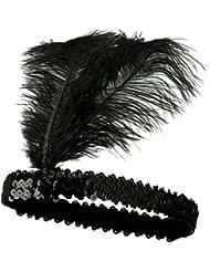 ILoveCos Brüllen 1920er Sequiniert Showgirl Klappe Kopfstück Feder Stirnband Schwarz