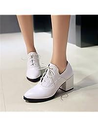 SFSYDDY Primavera Y Otoño Temporada De 7 5 Cm Zapatos Blanco Corbata Profunda Solo Zapatos Grueso Tacon Zapatos...