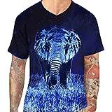 GreatestPAK T-Shirt Elefant 3D Print Casual Slim Kurzarm T-Shirt Top Mens Bluse,Blau,XL