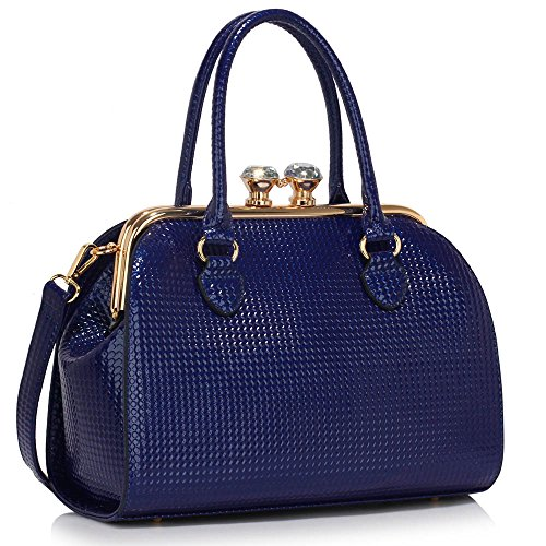 Trend Star Ladies Handbags Donna Borse Griffate Celebrity Similpelle Tote Bag A - Marine