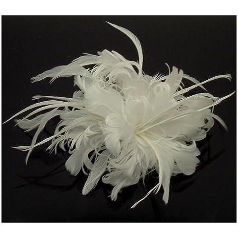 Acosta-Soffice imbottitura in piuma d'oca, colore: bianco, misura grande, tacco Cerchietto per capelli con Clip e spilla/accessori