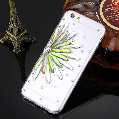 Wkae Case Cover Für iPhone 6 Plus &6s Plus-Diamant verkrustete Glas-Katze-Perlen-Bell-Muster-weiche TPU-Schutzhülle Cover-Rückseite ( SKU : IP6P4000T ) IP6P4000H