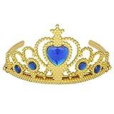Le meilleur Tiara couronne pour fille Conclusion Balles Lave-vaisselle Trains Princess Party d'anniversaire de Or -  Bleu - Taille unique
