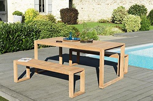 MACABANE 509504 Salon de Jardin Couleur Naturel en Teck Dimension 180cm X 90cm X 77cm