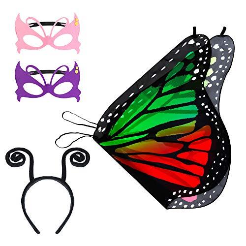 Bolonbi Kinder Schmetterling Flügel Fee Schmetterling Schal Flügel Stirnband und Maske für Jungen Mädchen Kleid Up Prinzessin