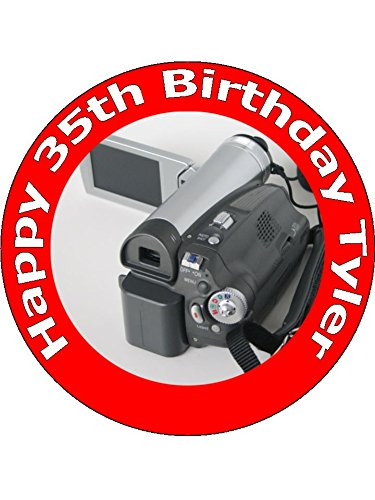 75-inch-camcorder-and-video-camera-birthday-cake-toppers-decorations-personalised-on-edible-rice-pap