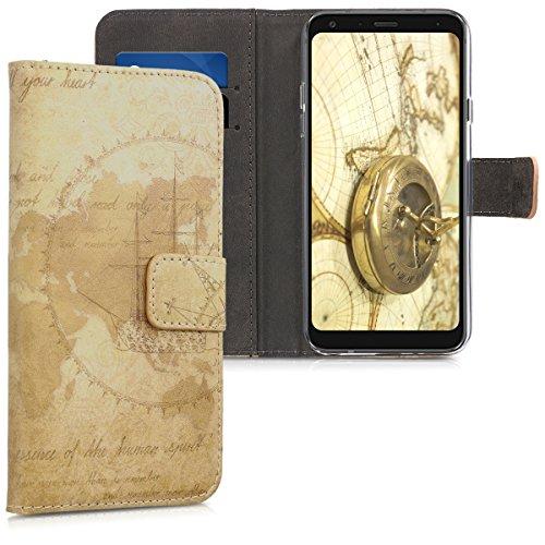 kwmobile LG Q7 / Q7+ / Q7a (Alpha) Hülle - Kunstleder Wallet Case für LG Q7 / Q7+ / Q7a (Alpha) mit Kartenfächern & Stand - Travel Vintage Design Braun Hellbraun