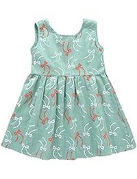 6e33aefdd Vestido para niña Puntos Floral Imprimir Vestido de Bowknot Princesa Vestido  para Bautizo Bebé Niñas sin Mangas…