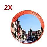 2X MERITON 45 cm 130 Grad Sicherheitsspiegel Panoramaspiegel Konvexspiegel Garage Spiegel Verkehrsspiegel