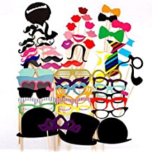 JUNGEN 58PCS Colorful Props On A Stick Mustache Photo Booth Party Fun Wedding Favor Christmas Birthday Favor