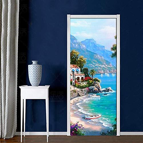 3D Tür Aufkleber Mediterrane Landschaftsmalerei Fototapete Tapete (77X200Cm) Self Pvc Wasserdicht Selbstklebend Abnehmbare Wandgemälde Home Decoration Aufkleber