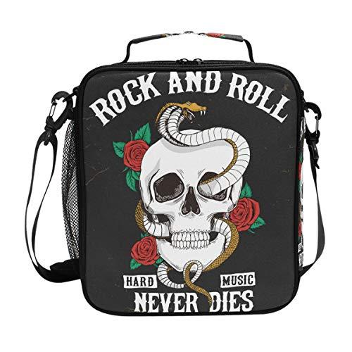 Rock and Roll Lunchtasche mit Totenkopf-Motiv, isoliert, für Damen, Herren, Jungen, Mädchen, große Tasche, Picknick, Schule -