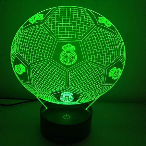 Real Madrid Fußball Team 3D Nachtlicht/LED Energiesparlampe, 7 Farben, Nachttisch Nachtlicht Beleuchtung Kinderlampe, Schreibtisch Tischdekoration Lampe