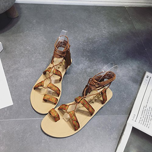 Webla Frauen Gladiator Sommer Stiefel Strappy Bandage Clip Ring Toe flache  Sandalen Braun
