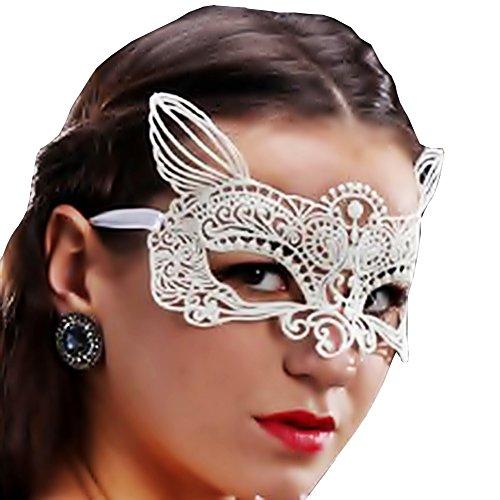 Inception Pro Infinite Maske - Katze - Weiße Farbe - Karneval - Halloween - Venetian - Frau - Macramé
