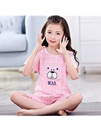 Pijamas de niños algodón de Manga Corta Pijama de Manga Corta para niñas de Verano Traje