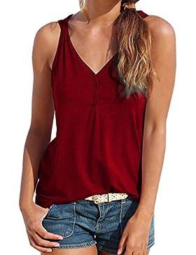 VENMO Tops Mujer verano Camisetas Mujer verano Mujeres Strappy Chaleco Tops Camisetas sin mangas Casual verano...