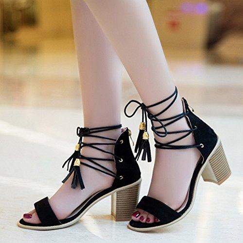 COOLCEPT Damen Mode Schnurung Sandalen Open Toe Blockabsatz Schuhe Mit Zipper Schwarz