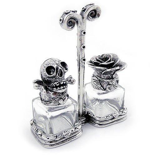 Skull and Rose Pewter & Glass Salt & Pepper Shaker Set by Modern Artisans
