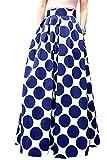 iEFiEL Damen Maxirock Lang Maxi Skirt Rock Plissee Vintage Röcke Rockabilly Polka Dots Sommerrock Strand Rock (M, Blau Punkte)