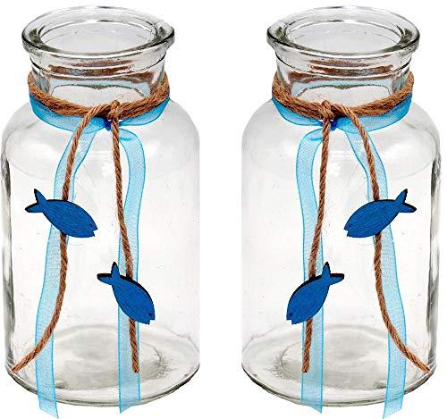 ZauberDeko 2 Vasen Kommunion Konfirmation Tischdekoration Petrol Fisch Natur Vintage Isaak -