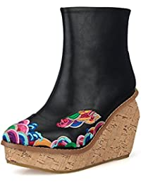 &HZOU Otoño/invierno/nuevo/étnico/bordado/vintage/señaló/cuñas/botas/tacones/mujer/flor/plataforma/resistencia al desgaste , black , 37
