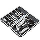 12-teiliges Nageletui Nagelpflege Set für Maniküre und Pediküre inkl. Nagelzange, Nagelknipser, Nagelschere, Pinzette etc.