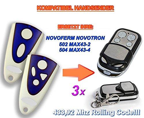 Preisvergleich Produktbild 3 X NOVOFERM NOVOTRON 502 MAX43-2, 504 MAX43-4 Kompatibel Handsender, 433.92Mhz rolling code keyfob