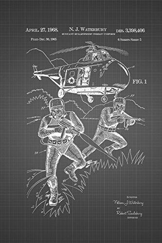 JP London spmurjsglt31Sky Dive Air Navy SEAL Combat Uniform Ziegelsteinwand abnehmbarer Vintage Schwarz Grid Poster Patent Art at 91,4x 61cm (Uniform Sky)