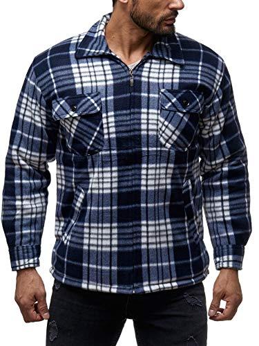 Herren Fleece Jacke Holzfäller Hemd Thermo Flanell Sweat Shirt H2070,Dunkelblau,L