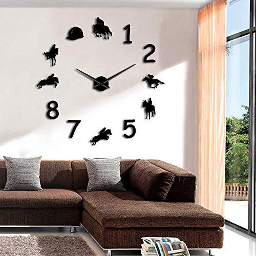 Mtye DIY 3D Wandtattoos Dekoration Uhren für Büro/Super Acryl DIY Racing Clock - Schwarz