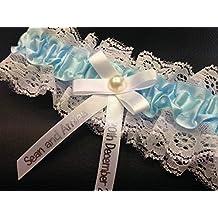 Liga de boda hecha a mano con fecha de boda personalizada. Despedida de soltera. Accesorio boda. Lencería. Carnaval