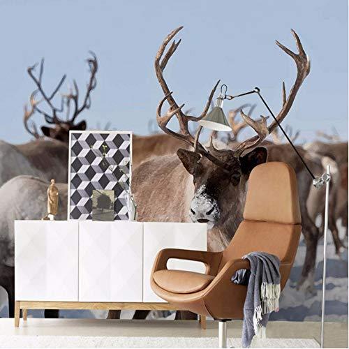 erne 3D Stereo Elch Wald Landschaft Tapete Schlafzimmer Wohnzimmer Restaurant Hotel Einkaufszentrum Fototapete V-400X280Cm ()