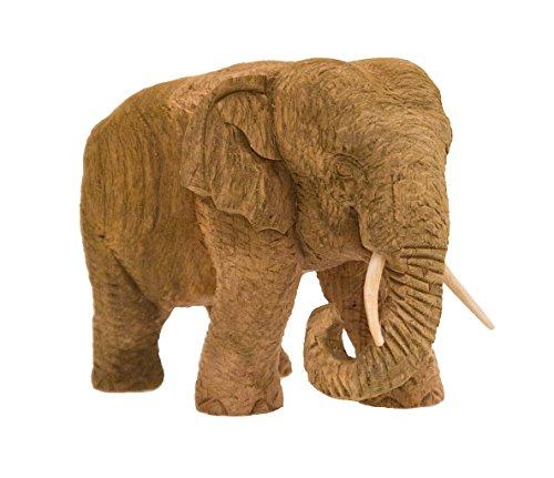 Elefant, Höhe 11,50 cm, Rüssel unten, eingerollt, Teakholz, Natur belassen
