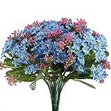 Nahuaa Künstliche Blumen blau 4 Stücke künstliche Blumensträuße Dokoration gefälschte Blumen für Hochzeit Wohnung Doko Garten Büro