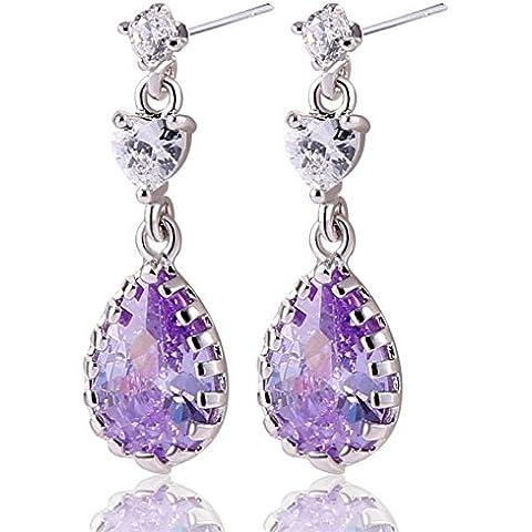 Bling fashion costume orecchini da sposa, zirconia cubica viola placcato oro bianco 18K orecchini pendenti orecchini e011d