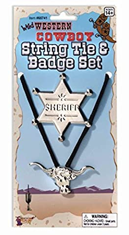 SW Cowboy String Tie & Sheriff Badge Kit New Fancy Dress Wild Western Cowgirl Accessory