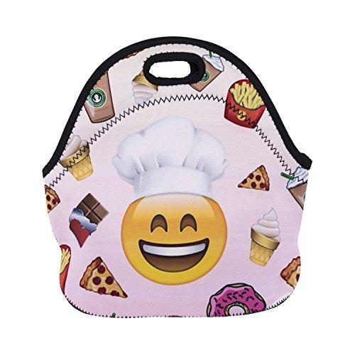 ZMvise Emoji Cook les sacs réutilisables pique - nique déjeuner tote isolés boîtes hommes femmes enfants toddler infirmières sac de voyage