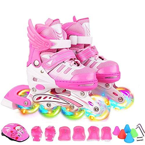 ZCRFY Rollschuhe Kinder Inliner Skates Für Anfänger Verstellbar Set Rollschuhe Mädchen Jungen Kinderinliner Kleinkinder Inlineskates - Größenverstellbar,Pink-M