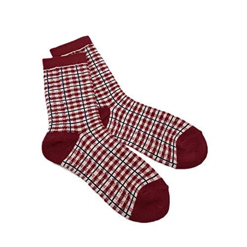 WXMDDN Quadratische Lange Rohrfrauensocken 10 Paare/Röhrensocken der Frauen/Rohrkalbsocken/Retro- zufälliger britischer Wind schlug Farbgitter-Gezeiten-Socken 10 Paare,10 Paare Rot