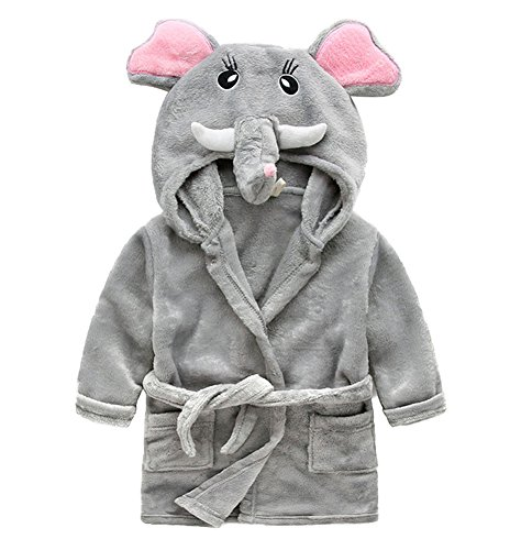 nder Kapuzen-Bademantel Jungen Mädchen Morgenmantel Tier Schlafanzug Flanell Nachthemd Nachtwäsche Größe 120 Elefant ()