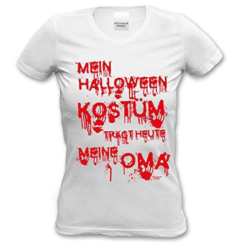 Kostümersatz Hallowen T-Shirt Frauen Mein Halloween Kostüm trägt Heute Meine Oma Tshirt Damen Farbe: Weiss Gr: S (Cool Kostüme Hallowen)