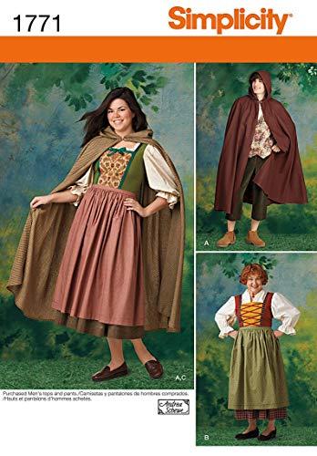 Simplicity 1771 Damen und Herren Kostüm, Gr. XS - - Halloween Costume Faire Un