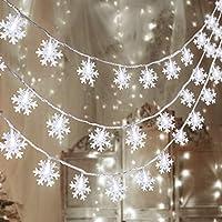 اضاءة ليد من 80 مصباح بتصميم ندفة الثلج للكريسماس - زينة مضيئة في عالم العجائب في فصل الشتاء - لوازم لزينة الاعياد في الاماكن المغلقة والخارجية (32.8 قدم، البطاريات غير مرفقة)