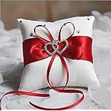 Lingstar Decoración Romántica Boda Lazo Lazo Anillo Portador Almohada Encanto Rhinestone corazón 10* 10cm
