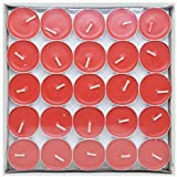 Saubhagya Global Unscented Smokeless Wax Tea Light Candle Pack Of 50 Pcs (Red)