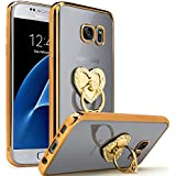 Semoss Luxe Design 360 Degré Bling Strass Bague Coque Transparent Etui TPU pour Samsung Galaxy S7 Edge Diamant Housse Protection Bumper avec Cœur Kickstand Protecteur Case Shell Skin - Or